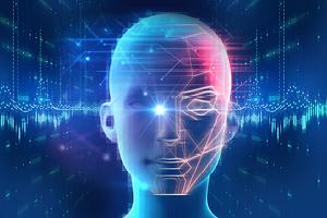 mannequin head with neon digital overlays