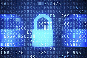cybersecurity image - neon blue padlock superimposed on dark blue background with white letters and numbers