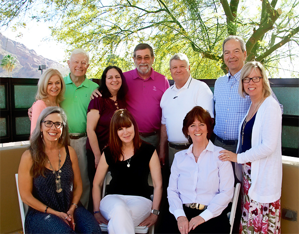 L to R, standing: Shelli Williamson, Senior Advisor and Former Executive Director; Don Wegmiller, Chairman; Ricki Levitan, Director of Operations; Chuck Appleby, Director of Publications; Gordon Rohweder, Director of Benchmarking Services; Tom Sadvary, Vice-Chairman; Cindy Mendel, Executive Assistant. L to R, seated: Nancy Navarrette, Webmaster; Cynthia Schroers, Manager, Affinity Groups; Janet Guptill, FACHE, Executive Director. Not shown: Margaret Shea, Business Manager.